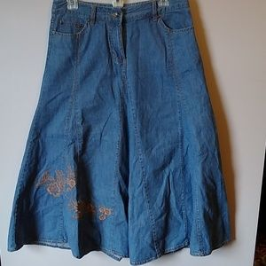 Embroidered Denim Skirt & Ruffle Top Sz 8 & S